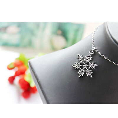 Jewelry Set 18K White Gold Plated Necklace Earring Shiny Clear Crystal Snowflake