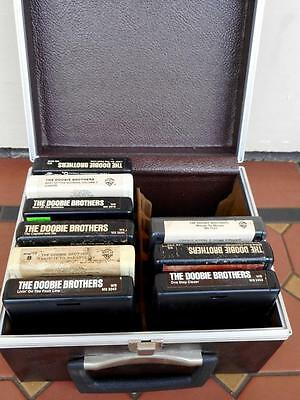 9 x Various Doobie Brothers 8 Track Tapes Boxed in Chocolate Leather Carry Case