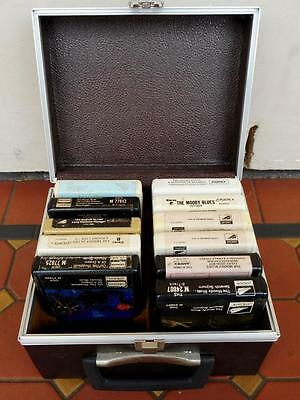 11 x Various Moody Blues 8 Track Tapes Boxed in Chocolate Leather Carry Case
