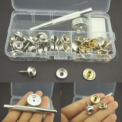 Stainless Steel Canvas to Screw Press Stud Snap Kit Boat Cover Fastener Fitting