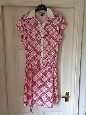 H&m Stunning Summer Red White Dress Size 14  Immaculate   Stretch