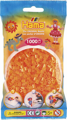 Hama 1000 Midi Bügelperlen 207-38 Neon-Orange Ø 5 mm Perlen Steckperlen Beads