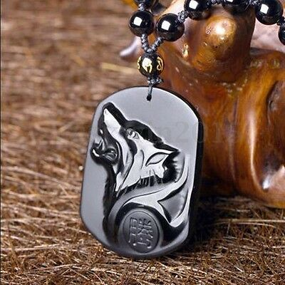 Natural Black Obsidian Wolf Head Good Luck Handwork Carved Pendant w/ Necklace