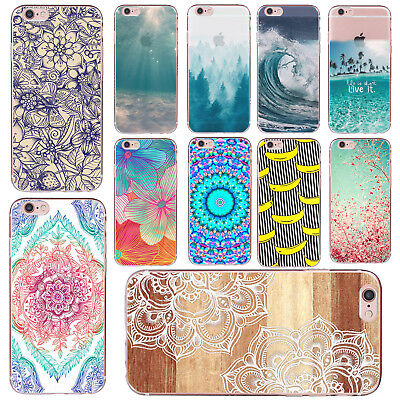 Thin Silicone Flower Pattern Skin Soft TPU Case Cover For iPhone 5s 6 7 Plus