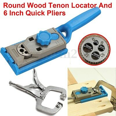 Pocket Hole Drill Jig Guide Round Wood Doweling Joint Tool+Locking C Clamp Vise
