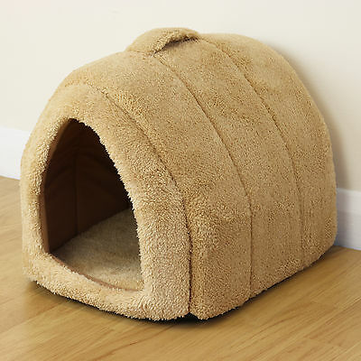 Soft Brown Pet Cat/Kitten Dog/Puppy Fleece Igloo Bed Warm House/Tunnel/Snug/Pod
