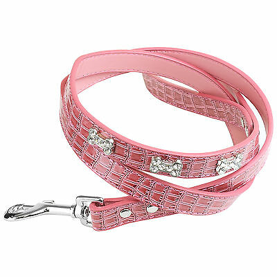 1.2m Pink Bling Sparkly Rhinestone Dog/Puppy Pet Walking Lead Leash Collar Clip