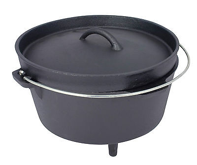Dutch Oven 4 or 8.5l litre Cast Iron Pre Seasoned Outdoor Oven Casserole Camping