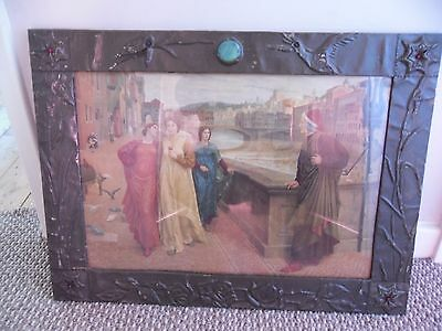 Arts and crafts metal embossed frame, early 20th century.