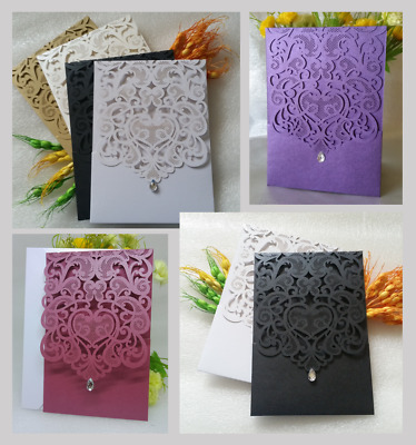 NI Laser cut Wedding Invitation Cards with Pocket and Envelope, Free Seals, Fast