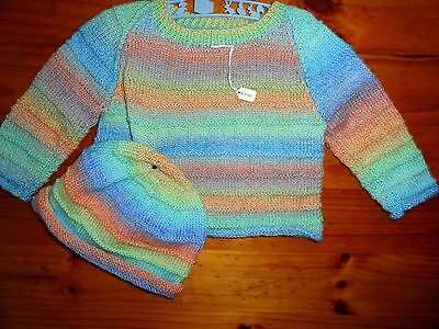 Baby Hand Knitted Jumper 7 Hat Unisex In Multi... Size 6 Months