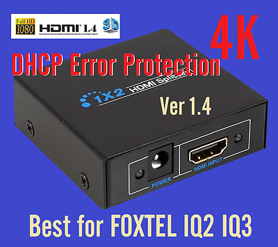 New 4k HD*1080p HDMI Splitter 1 x2 Duplicator Amplifier Extender< Foxtel IQ2 IQ3