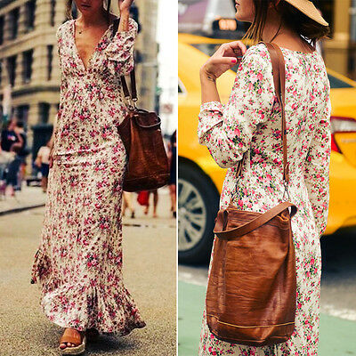 WomenCasual Boho Long-Sleeve Floral Beach Evening Cocktail Party Long Maxi Dress