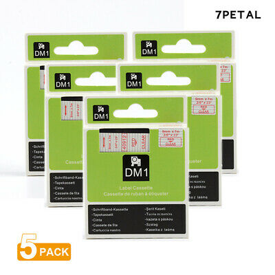 "5PK Red on Clear Tape Label Compatible for DYMO 40912 D1 9mm 7M 3/8"" X 23'"