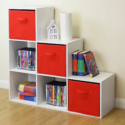 White 6 Cube Kids Toy/Games Storage Unit Girls/Boys Bedroom Shelves 3 Red Boxes