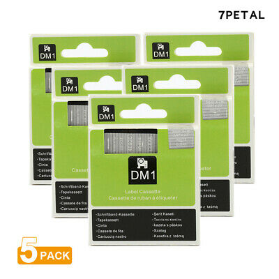 "5PK White on Clear Tape Label Compatible for DYMO 40920 D1 9mm 7M 3/8"" X 23'"