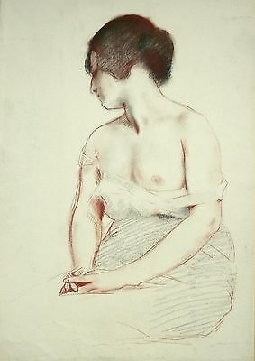 Gustave POETZSCH - 1920 - Pastel - Le sein  - 45x32 cm - Drawing - Nude -