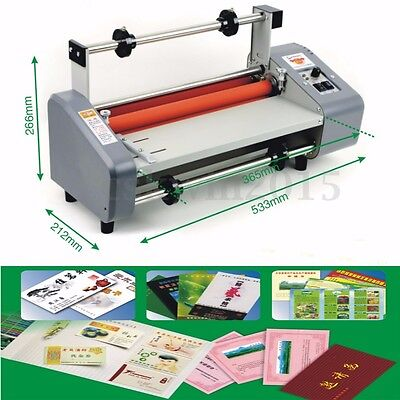 """220V 50Hz 13"""" Four Rollers Hot and Cold Roll Laminator Laminating Machine"""