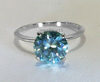 Halo Solitaire Blue 4ct moissanite Round Cut engagement 925 sterling silver ring
