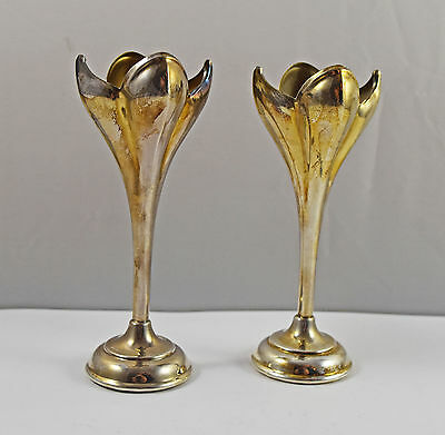 Pair Of Vintage Good Quality 'Plato' Silver Plate Crocus Style Vases