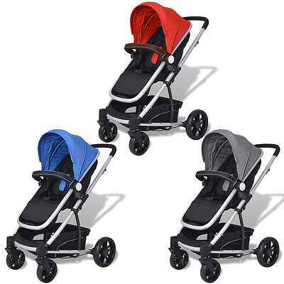 vidaXL 2-in-1 Baby Toddler Stroller Pram Pushchair Buggy Aluminium 3 Colours
