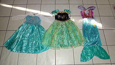 girls costumes, girls dress up Frozen Anna and Elsa, Mermaid size 7-10 y