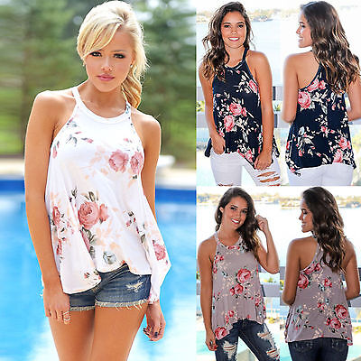 Fashion Women Summer Vest Tops Sleeveless Floral Blouse Casual Tank Tops T-Shirt