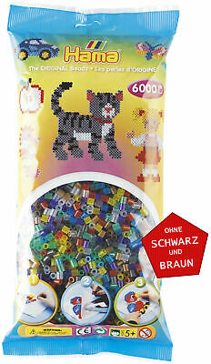 Hama 6000 Midi Bügelperlen 205-53 Mix Transparent Ø 5 mm Perlen Steckperlen Bead