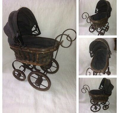 Antique Victorian Doll Carriage Buggy Strolle Wicker Wood