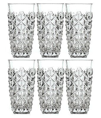 Set of 6 RCR Enigma High Ball 400ml Crystal Tumblers Glasses Italy Dinner Glass