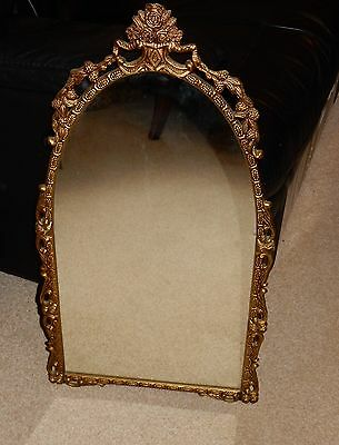 Vintage Gilt Metal Framed Dome Topped Wall Mirror