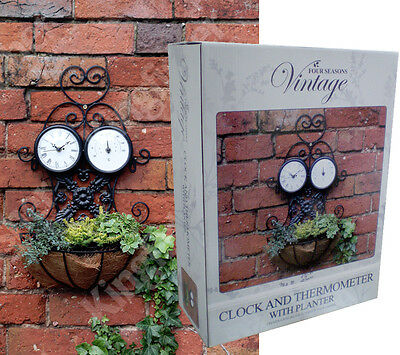 Outdoor Decorative Garden Wall Clock and Thermometer with Basket Planter