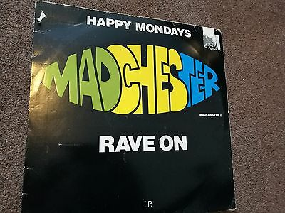 """Happy Mondays Madchester Rave On vinyl 12"""" EP 1989 Factory Records (FAC 242)"""