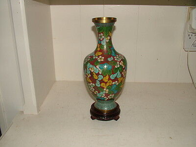Big Antique Beautiful Chinese Cloisonne Flowers Vase W/stand 11' High