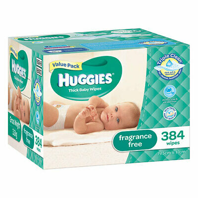 NEW Huggies Thick Baby Wipes Fragrance Free Value Pack - 384 Pack