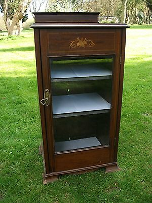 Antique Mahogany Display Case Book Shelves Cupboard Edwardian Chic Music Cabine
