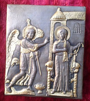 Silver Bizantine Orthodox icon of the Annunciation