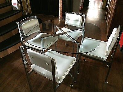 Vintage MCM 1970s Chrome Lucite White Vinyl Brody Dinette Set 4 Chairs Table