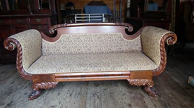 Federal Empire Mahogany Sofa With Paw Feet