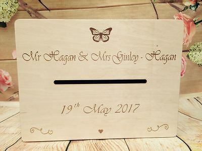 Personalised Wedding Cards Post Box Holly Communion Wish Wooden Box with Slot