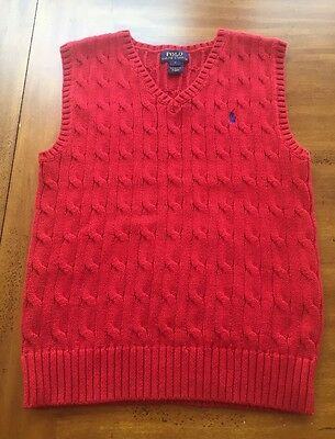 Polo by Ralph Lauren Boys Size 7 Cable Knit Cotton Sweater Vest RED EUC