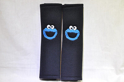 Embroidery Sesame Street Cookie Monster Seat Belt Cover Soft Shoulder Pads Pair