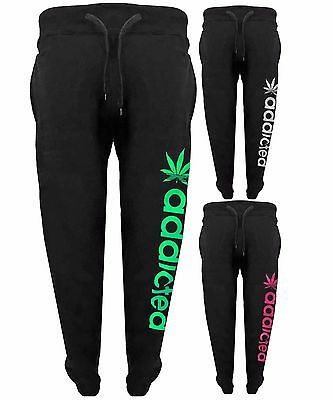 Womens Addicted Tracksuit Ladies Fleece Jogging Joggers Trousers Bottoms Pants