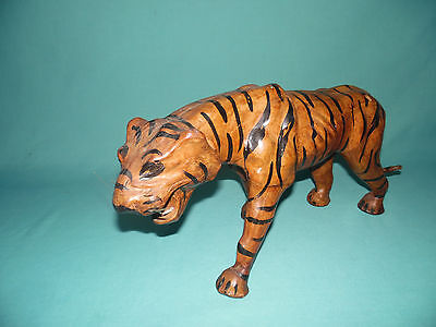 """Vintage 14"""" Leather wrapped carved wood Bengal Tiger figure statue animal art"""