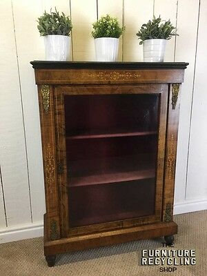 Ornate Victorian Glazed Display Cabinet With Red Material Inside. Traditional