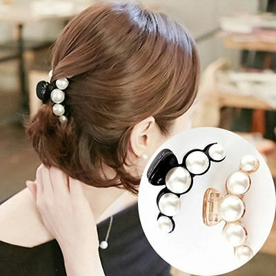 2Pcs Fashion Women Girls Large Pearl Hair Clips Pins Claws Barrettes Accessories