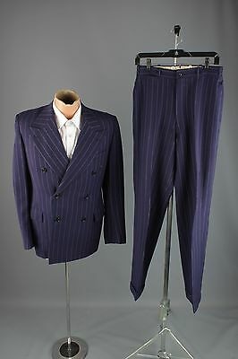 Vtg 40s Blue Pinstripe Wool Double Breasted Suit Jacket sz S Pants 28x31 #3081