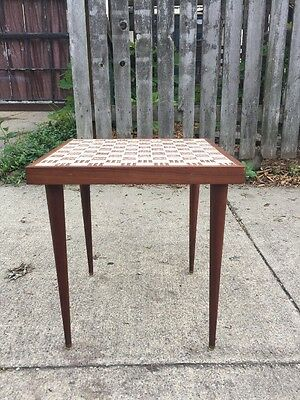 Mid Century Modern Mosaic Tile Top Side Table Danish