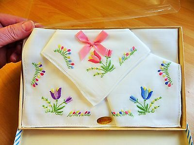 3X Boxed White Irish Lawn Cotton Handkerchiefs Hand Embroidered Tulip Flowers