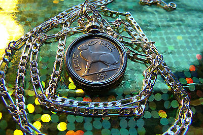 "IRISH LUCKY RABBIT COIN PENDANT on a 30"" 925 STERLING SILVER Chain"